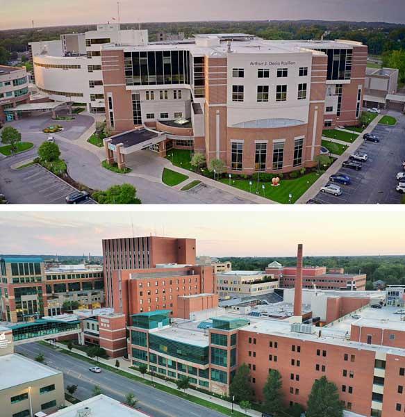 Exterior of Memorial and Elkhart General Hospitals